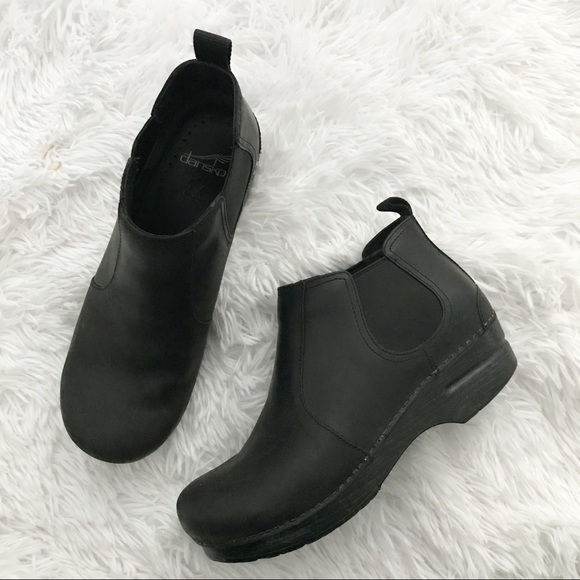 Black Oiled Slip On Ankle Bootie